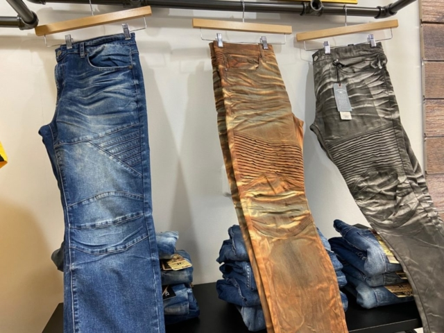Washed and dyed jeans